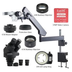 Image 1 - 3.5X 7X 45X 90X 37MP HDMI USB Video Camera Articulating Arm Pillar Clamp Simul Focal Industrial Trinocular Stereo Microscope