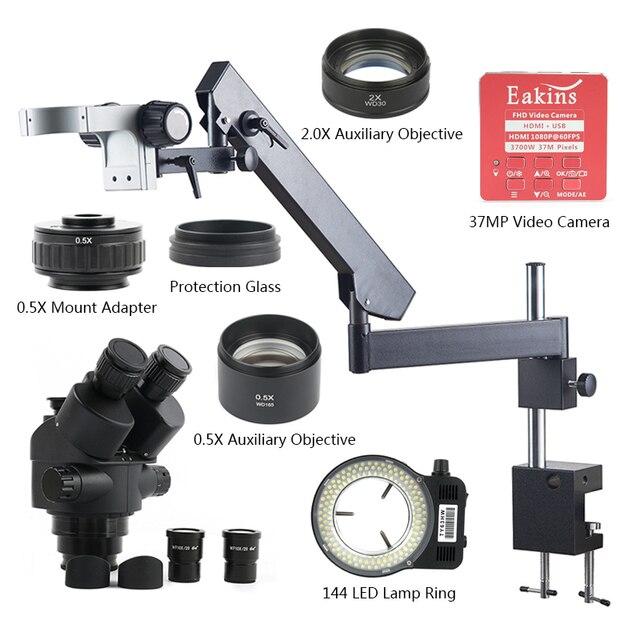 3.5X7X45X90X37 MP HDMI USB kamera wideo filar przegubowe ramię zacisk Simul  ogniskowej przemysłowe trinokularnej mikroskop stereo