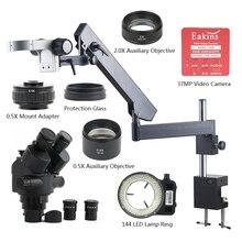 Microscópio 3,5x 7x 45x 90x 37mp hdmi, câmera de vídeo usb, braço articulador, braçadeira simul focal, industrial, trinocular, estéreo