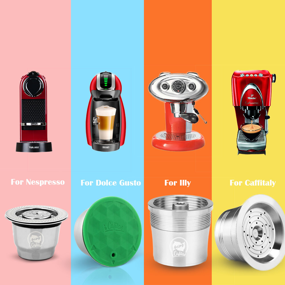 Stainless Steel Metal Reusable Coffee Capsule For Dolce Gusto For Nespresso For Illy For Cafissimo