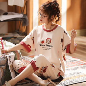 Image 3 - 女性のパジャマセット夏プラスサイズニット綿ナイトウェア女性大サイズ 5XL 半袖パジャマセットやホームウェアパジャマ