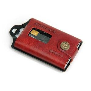 Image 5 - ZEEKER металлический держатель для карт, кошельки для кредитных карт, Кожаный минималистичный кошелек, кошелек с передним карманом цвета хаки