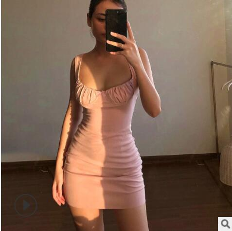 Summer Sexy Dresses Bow knot pleated sling U-neck Backless Cross Bandage Bodycon Party Dress Pleated Stretch Short Club Dress 7