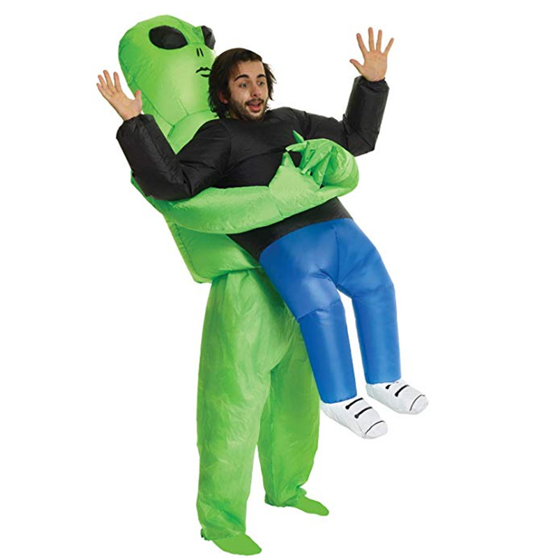 Adult ET Inflatable Monster Costume Green Alien Carrying Human Cosplay Halloween Performing Funny Inflatable Suit