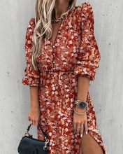 Long Dress Woman Autumn Spring Fashion Casual Purple Floral Long Sleeve Button Up Side Slit Dresses Clothes New Arrival 2021