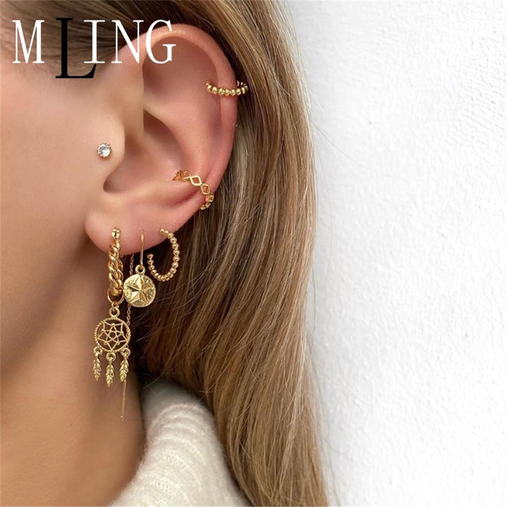 MLING Vintage Gold Alloy Beads Stud Earrings Fashion Star Dream Catcher Earrings Set for Women