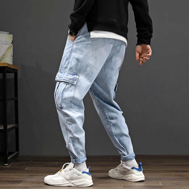 Casual pocket stretch jeans New Arrivals fashion hot men long straight loose gray jeans male Jean extra large size 28-42
