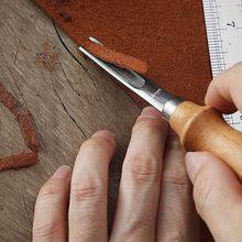 Pratik deri el sanatları kenar Beveler Skiving Beveling bıçak DIY kesme el sanatları aracı ahşap saplı A4mm A6mm A8mm