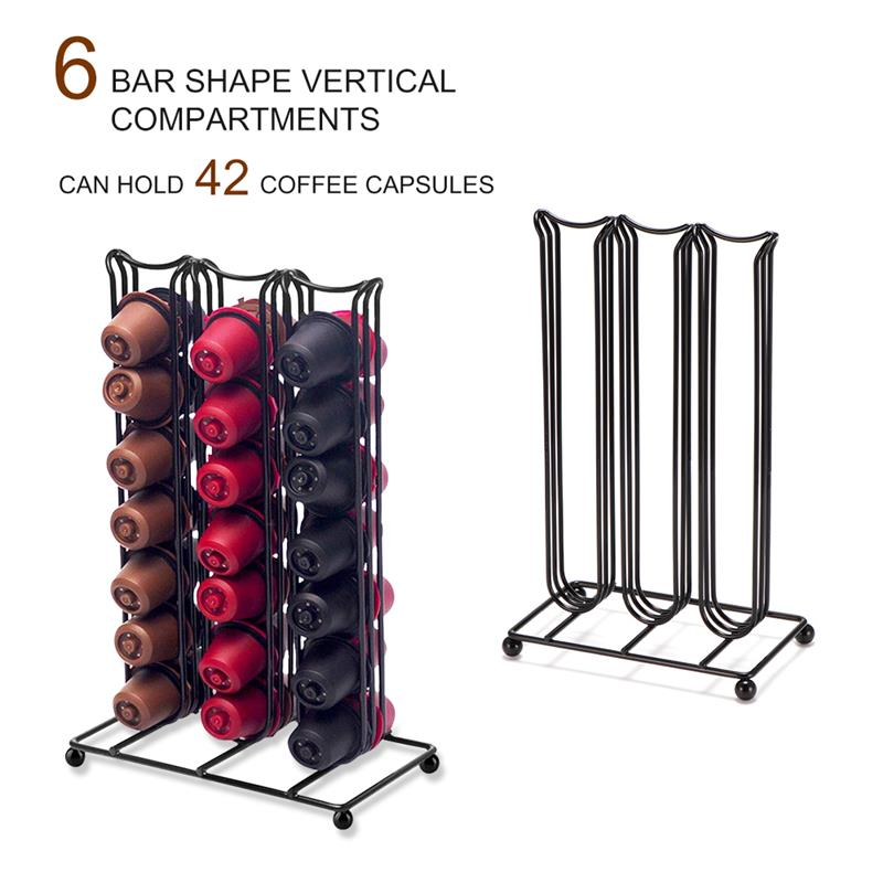 42Cups For Nespresso Coffee Pods Rotating Rack Coffee Capsule Stand  Bracket Capsules Storage Shelve Organization Holder
