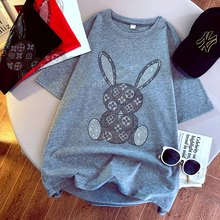 TYBURN Cartoon Rabbit Short Sleeve T-Shirt Women 2021 Summer Korean Fashion Oversized Harajuku Mid-Length Couple Kawaii Top