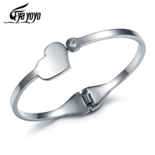 EyeYoYo Heart Charm Cuff Bangle For Women Stainless Steel Wholesale Jewelry