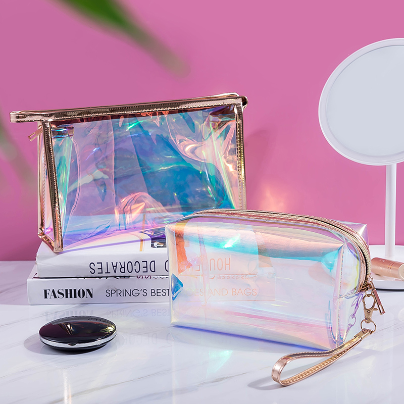YBLNTEK Travel Cosmetic Bag Laser Makeup Bags Organizer Transparent Makeup Brush Holder Waterproof Cosmetic Pouch For Women Girl