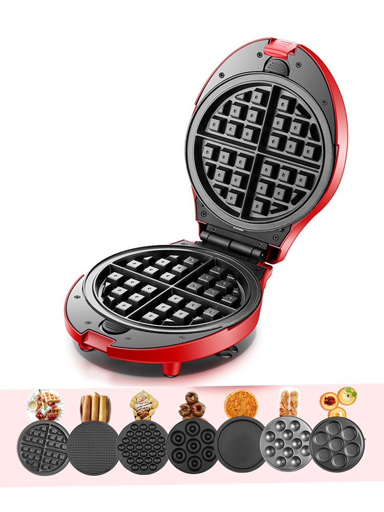 Home DIY Electric Baking Pan Waffle Maker Multi-function Egg Roll Cake Muffin Electric Waffle Maker Egg Machine with 7pcs mold