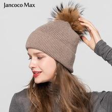 Women's Winter Pompom Hats Real Raccoon Pom Angora Fur Hats Fashion Rabbit Knitted Beanies Keep Warm S7586