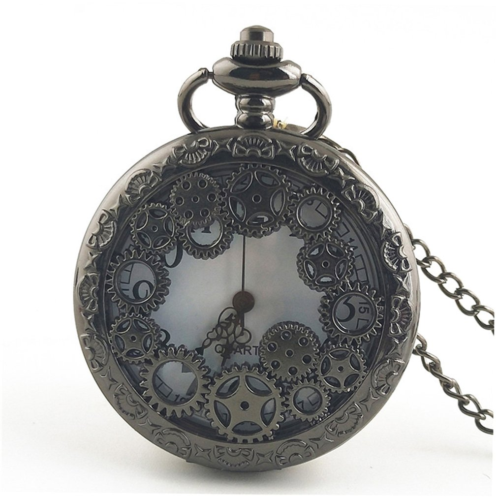 OUTAD Gear Hollow Out Vintage Antique Round Dial Quartz Pocket Watch Necklace Pendant Clock For Mens Womens Best Birthday Gifts