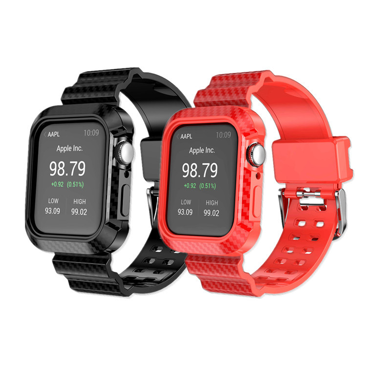 Suitable For Apple Watch APPLE Watch4 S Carbon Fiber Line Armor Frame + Watch Strap One-piece Shatter-resistant Case