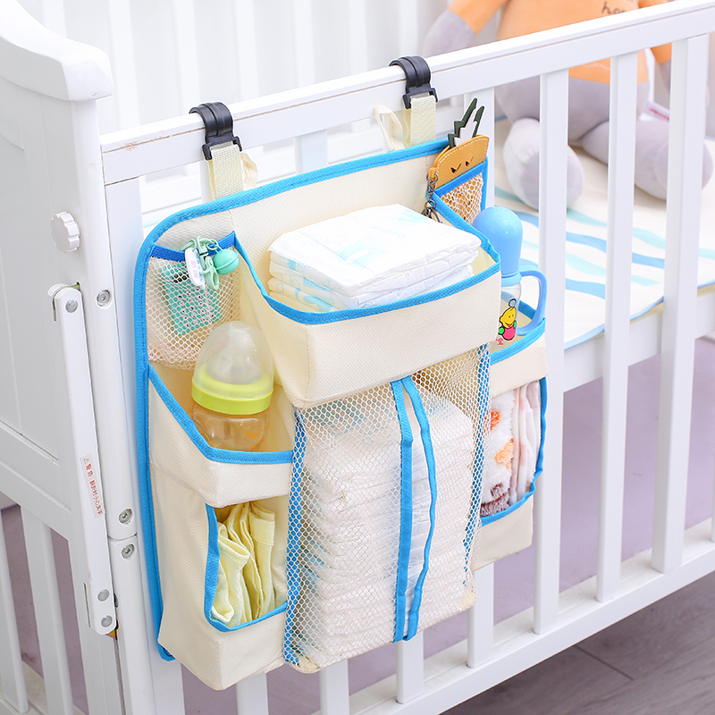 (SHIP NOW) Baby Crib Organizer Bed Hanging Diaper Daddy Storage Bag Diaper Stacker For Nursery Diaper/Clothes/Feeding Bottle
