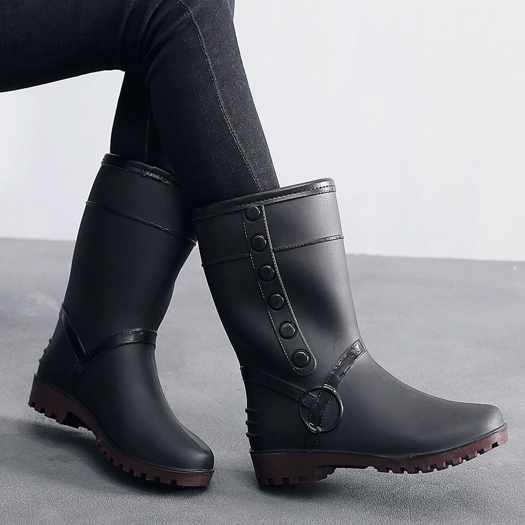 Mens Womens Warm Black Shoes Pull On Waterproof Ankle Short Snow Rain Boots Sz