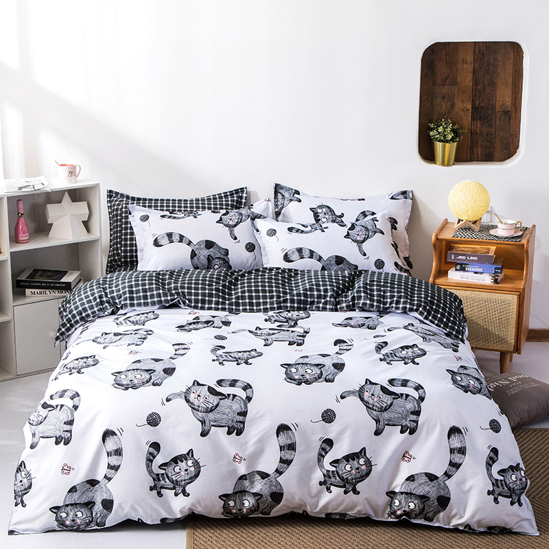 Cartoon Style Cute Cats Kids Quilt Duvet Cover Set Guest Room Bedclothes Comfortable Bed Cover Home Textile Bedding Set