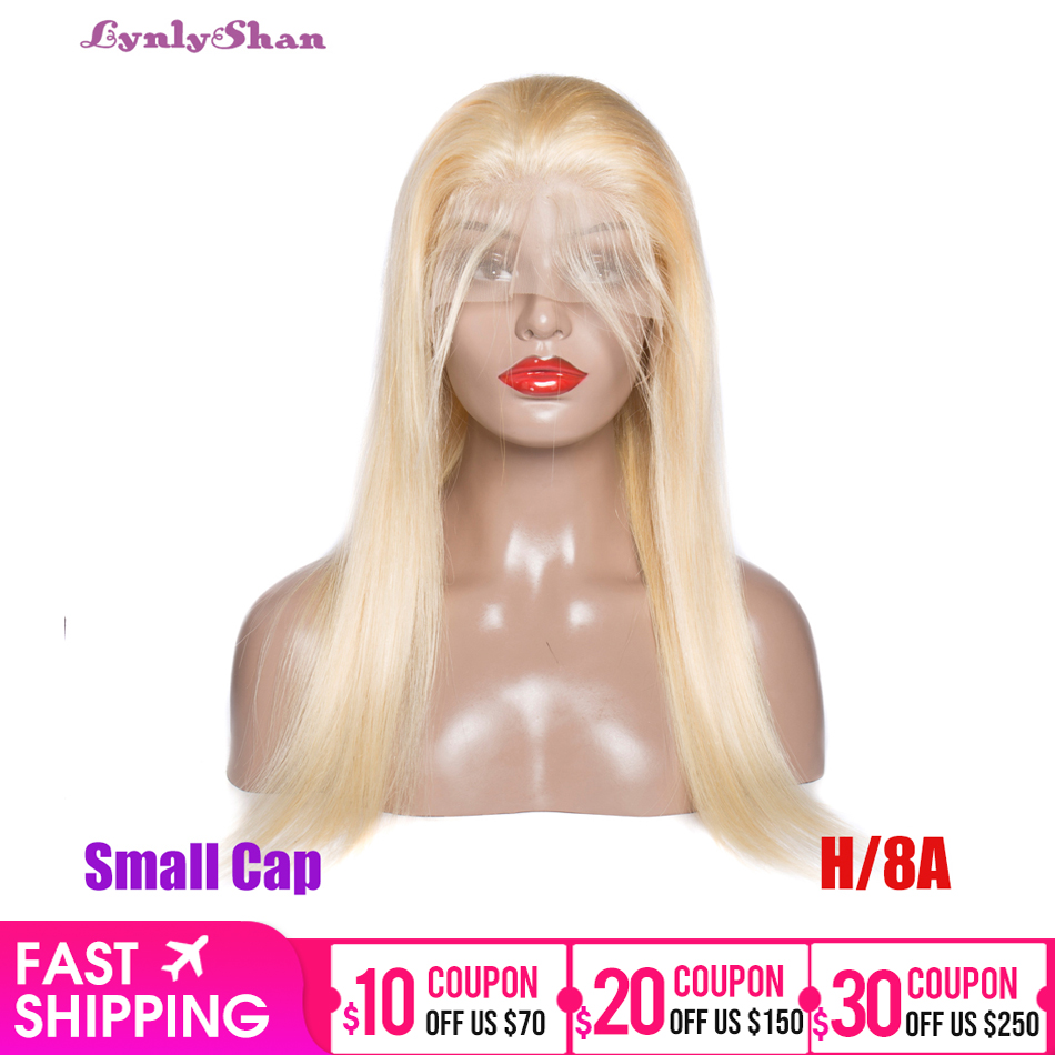 Lynlyshan Hair Blonde Human Hair Wig 613 Lace Front Wig Brazilian Straight Remy Hair Wig 150% Density 10-28 Inch Small Cap