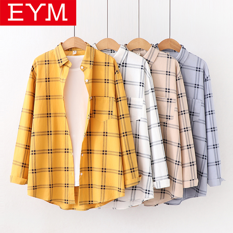 Brand Cotton Plaid Shirt Women 2019 New Women Blouses Good Quality Loose Long Sleeve Casual Shirts Female Simple Tops Blusas