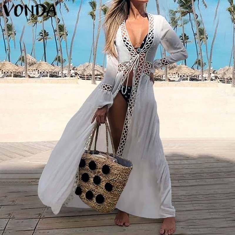 Beach Dress Women Sexy V Neck Hollow Long Sleeve Vestido VONDA 2020 Summer Covers-Up Maxi Long Dress Casual Sundress Plus Size