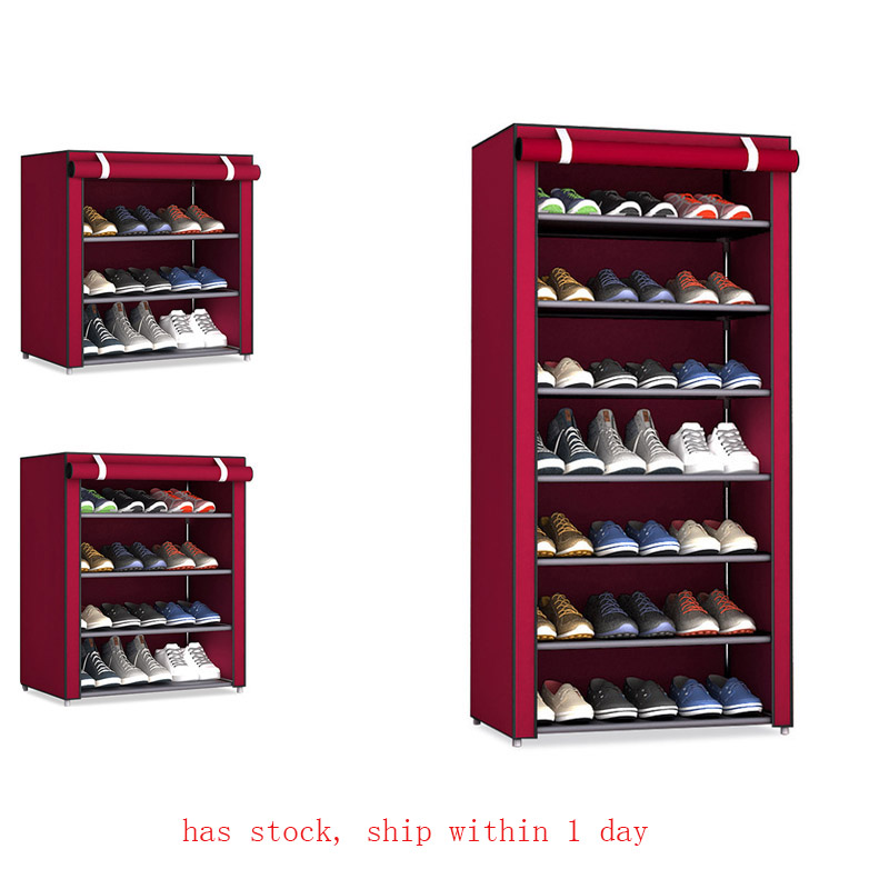 不織布収納靴ラック廊下キャビネットホルダー 4/5/6 層組み立てる靴棚 DIY ホーム家具