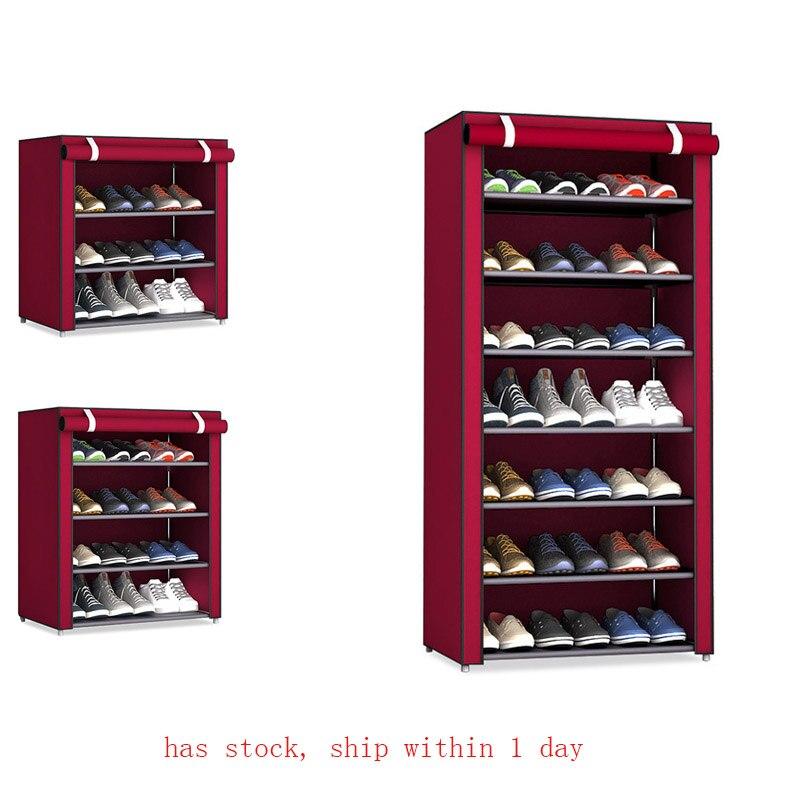 Non-tissé tissu rangement étagère à chaussures couloir armoire support organisateur 4/5/6 couches assembler chaussures étagère bricolage meubles de maison