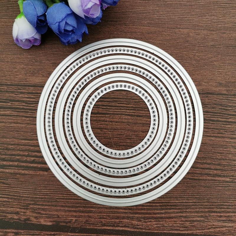 6pcs Round Metal Cutting Dies Stencil For DIY Scrapbooking Photo Album Embossing Paper Cards Crafts Die Cuts