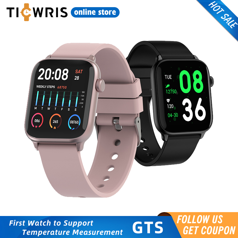 TICWRIS GTS Real Time Body Temperature Smart Watch Heart Rate Monitor 7 Sports Modes Smartwatch With Temp Sensor Bluetooth 2020
