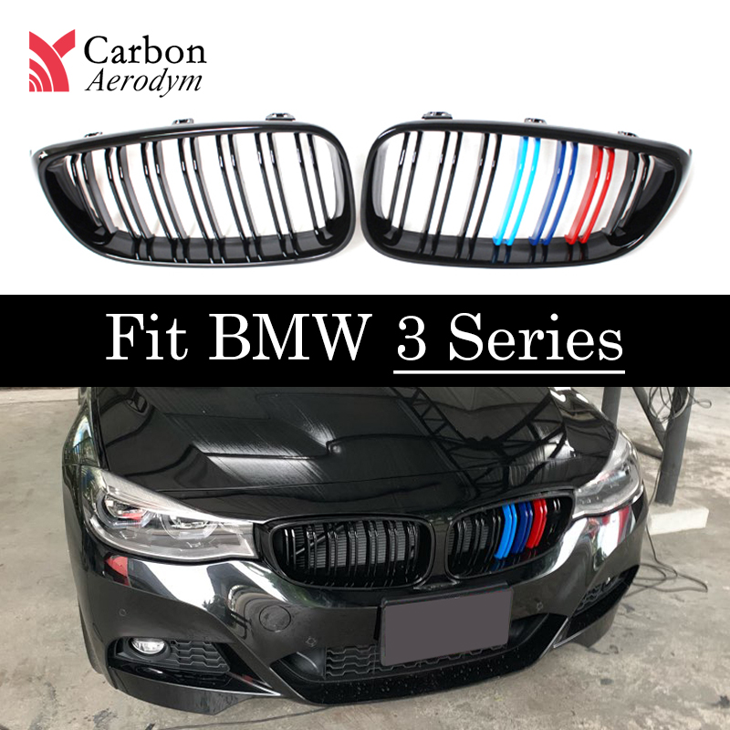 Front kidney grill for bmw E90 E92 E93 pre-LCI&LCI 2005-2013 F30 F35 G20 F80 M3 for 3 series GT F34 2012 + ABS dual slat grille image