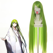 "Código geass c. c cc imperatriz cosplay peruca 100cm 39 ""verde longo straightheat fibra resistente cabelo peruca anime traje perucas"