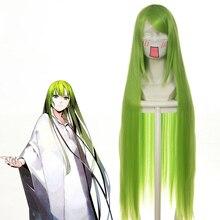 "Code Geass C.c Cc emperatriz Peluca de Cosplay, 100cm, 39 "", largo, verde, fibra resistente al alisado, Peluca de cabello negro, pelucas de disfraz de Anime"