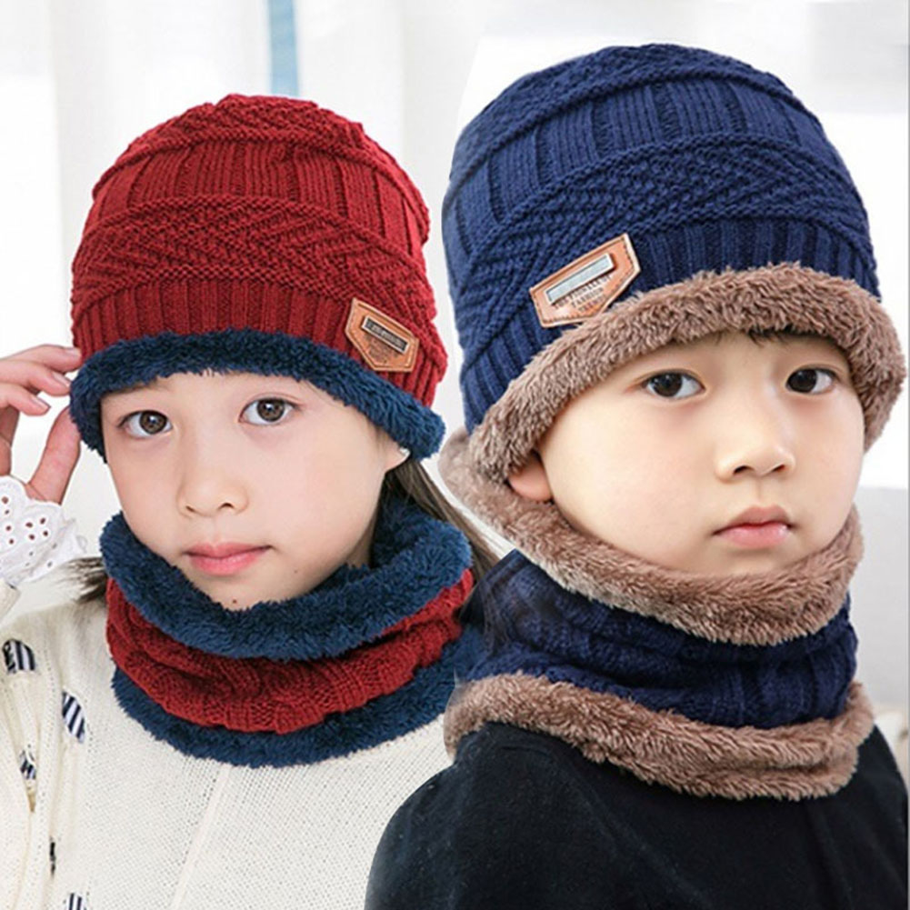 Children's Beanie Hat Scarf Set Winter Warm Knitting Wool Beanies Hat For Outdoor Activities Daily Warmer
