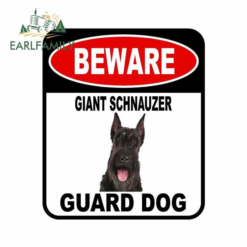 EARLFAMILY 13cm X 11cm BEWARE GIANT SCHNAUZER GUARD DOG Car Sticker Metal Aluminum Composite Sign Pet Dog Decal