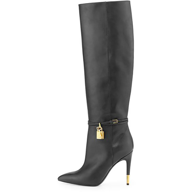 Stiletto Heel Knee High Boots Solid Matte Leather Metal Lock Decor Pointed Toe Wild Shaft Slip On Ladies Winter Boots Runway