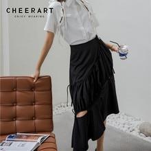 Asymmetrical Skirt Ruffle Black Hollow-Out Designer High-Waist CHEERART Fashion Women