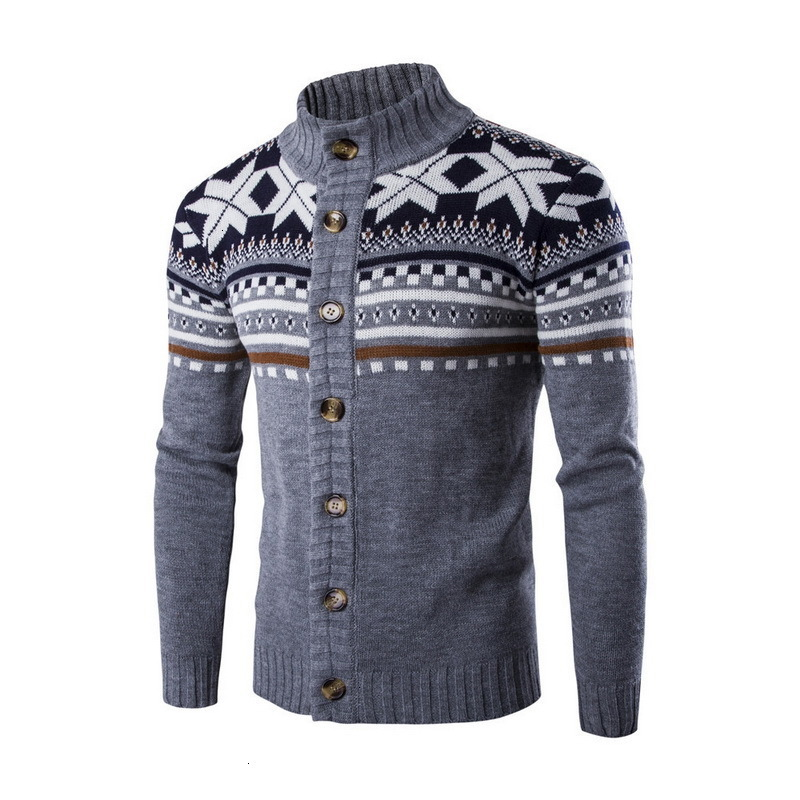 Mens Cardigan Sweaters Autumn Winter Warm Christmas Sweater Men Fashion Printed Jacket Coat Casual Stand Collar Knitting