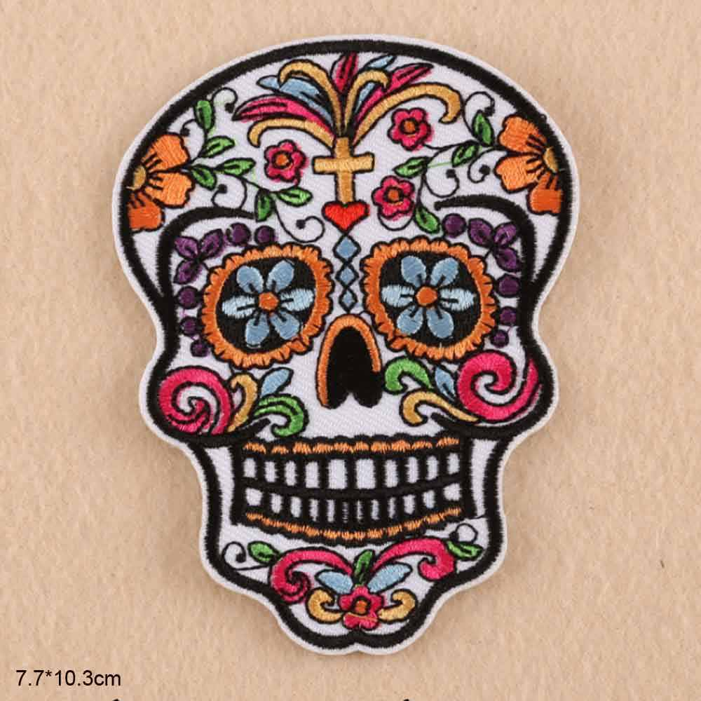 Big Size Skull Flower Bohemia Iron On Embroidered Clothes Patches For Clothing Girl Woman Wholesale
