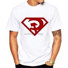 Коммунистической России супергероя смешной Значок Футболка Для мужчин белый Повседневное размера плюс футболка Homme