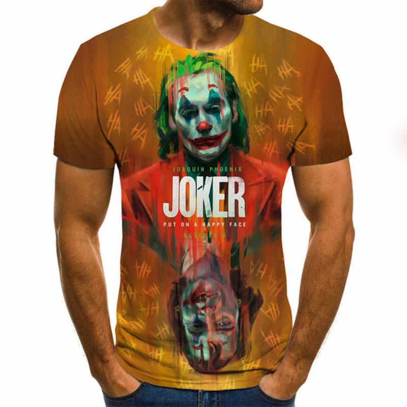 3D Pagliaccio Stampato T Shirt 3D Joker Viso Divertente T-Shirt Strada della Moda Unisex Pagliaccio T-Shirt Strada Ad asciugatura rapida Tee estate Magliette e camicette