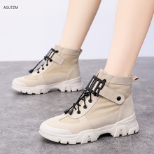 Sneakers women 2019 new short boots female autumn beige Martin motorcycle womens single high top canvas shoes  z224