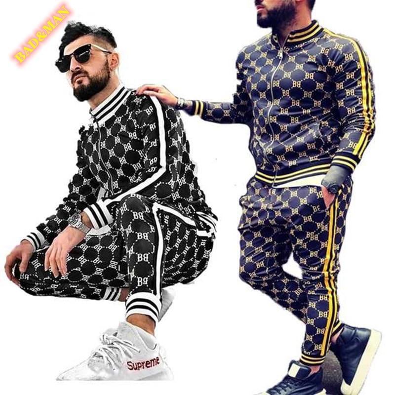 2020 new thinMens set Colorful Plaid Men Casual Zipper Set Autumn Tracksuit Set Male Sweatshirt Pocket