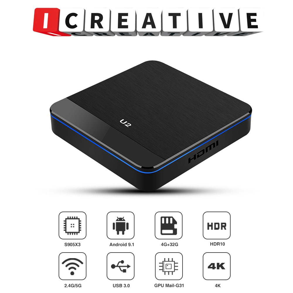 New Android 9.1 U2 Smart TV BOX  Amlogic S905X3  Quad Core 2.4G/5G Wifi 1KM  HD Hdmi Cable Hdmi Mirroscreen Airplay 4k Netflix