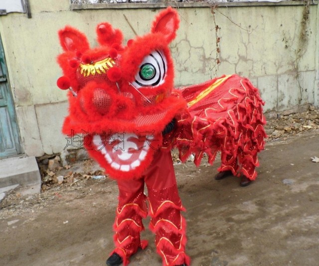 Tenue de danse de Lion chinois pour deux adultes Costume de danse de Lion laine fait à la main accessoires de scène Lion danse vêtements publicité