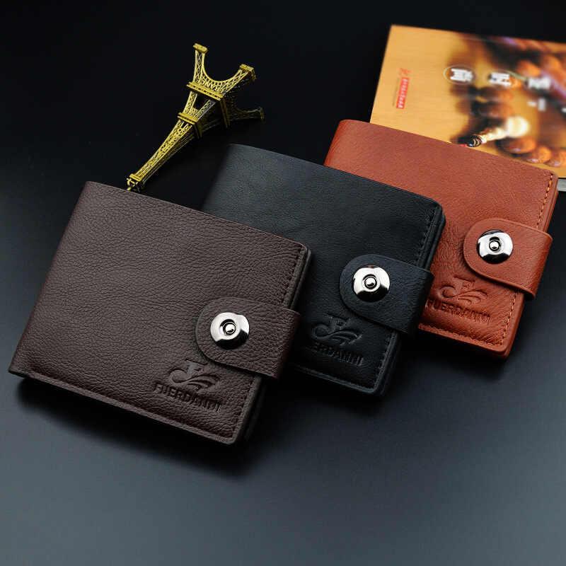 Melhor venda juventude fivela magnética carteira masculina seção curta seção transversal casual carteira carteira masculina pequena carteira