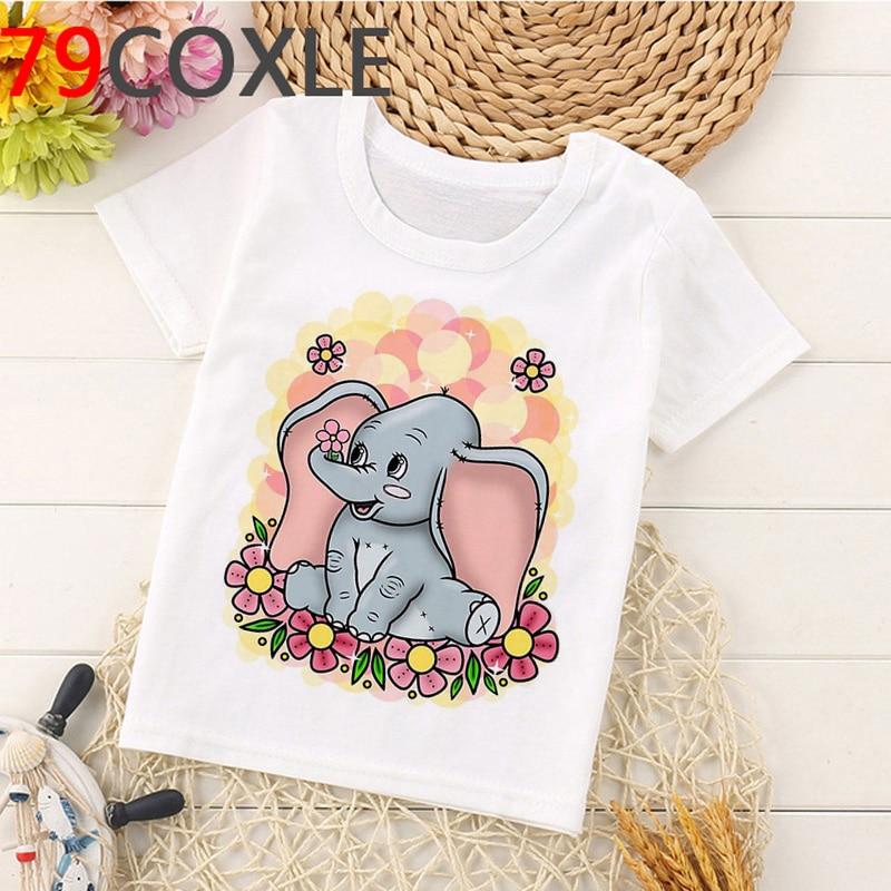 Kawaii Dumbo T Shirt Kids Summer Top Cool Funny Cartoon Kids T-shirt Cute Elephant Print Casual Vogue Graphic Tees Children