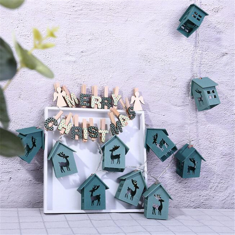 Christmas wooden house string lights Christmas string lights deer wooden house string lights Christmas decorations