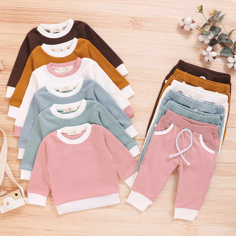 2Pcs Fashion Baby Girls Boys Clothes Set Ribbed Cotton Casual Homewear Long Sleeve Tops+Pants Toddler Infant Outfit Sleepwear