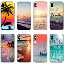 For iphone X Summer Beach Relax Starfish Ocean Sky Sun Hard plastic Phone Cases For iphone 8  6s 7 7plus 6splus  5SE Coque Cover все цены